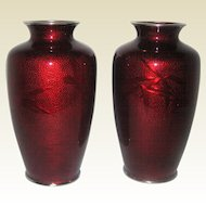 """Pair of 7"""" Japanese Pigeon Blood Red Ginbari Cloisonne Vases with Silver Rims"""