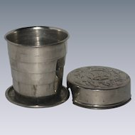Silver-Plated Collapsible or Telescoping Travel Cup with Floral Design