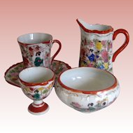 Five Pieces of Japanese Geisha Girl Porcelain