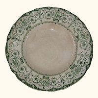 Green and White Transferware Plate - Circa 1900