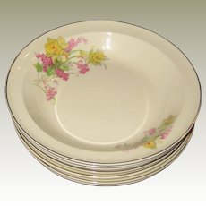 Seven TS & T (Taylor, Smith and Taylor) Pottery Rimmed Soup Bowls with Daffodils and Pink Flowers
