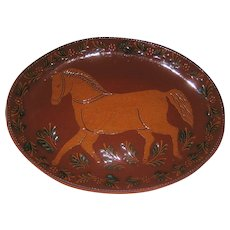 """Foltz Handmade Redware Pottery Platter with Horse -15 3/4"""" x 11 1/2"""" - Lancaster Co., PA 1990"""