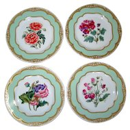 Set of Four Floral Luncheon Plates - Winterthur Adaption - Andrea by Sadek