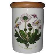 Portmeirion Tea or Spice Canister with Wooden Lid - Bellis Perennis - Daisy