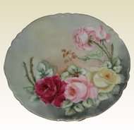 """AK D France 8 3/4"""" Porcelain Plate with Hand Painted Roses"""