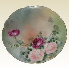 """Haviland, France Hand Painted Porcelain Plate with Roses - 8 1/2"""""""