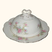 Knowles, Taylor & Knowles Semi-Vitreous Porcelain Butter Dish - Pink Carnations