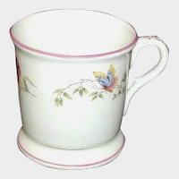 Porcelain Mug with Hand-Painted Butterflies - Circa 1900