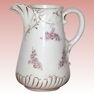 Victorian Pottery Ice or Lemonade Pitcher with Cherry Blossoms
