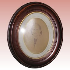 Victorian Solid Walnut Oval Recessed Picture Frame with Old Photo - Circa 1870