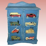 Small Wooden Cabinet with Transportation Theme - Boat, Cars, Plane, Train - Great for a Boy's Room