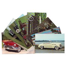 Lot of Eight Postcards with Vintage Cadillacs - Cars from 1906 - 1957