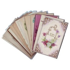 Twelve Beautiful Birthday and Greeting Postcards from the Early 1900's - Pink and Purple Flowers