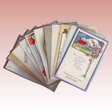 Twelve Colorful Birthday Postcards from the Early 1900's - Scenes, Flowers and Ivy