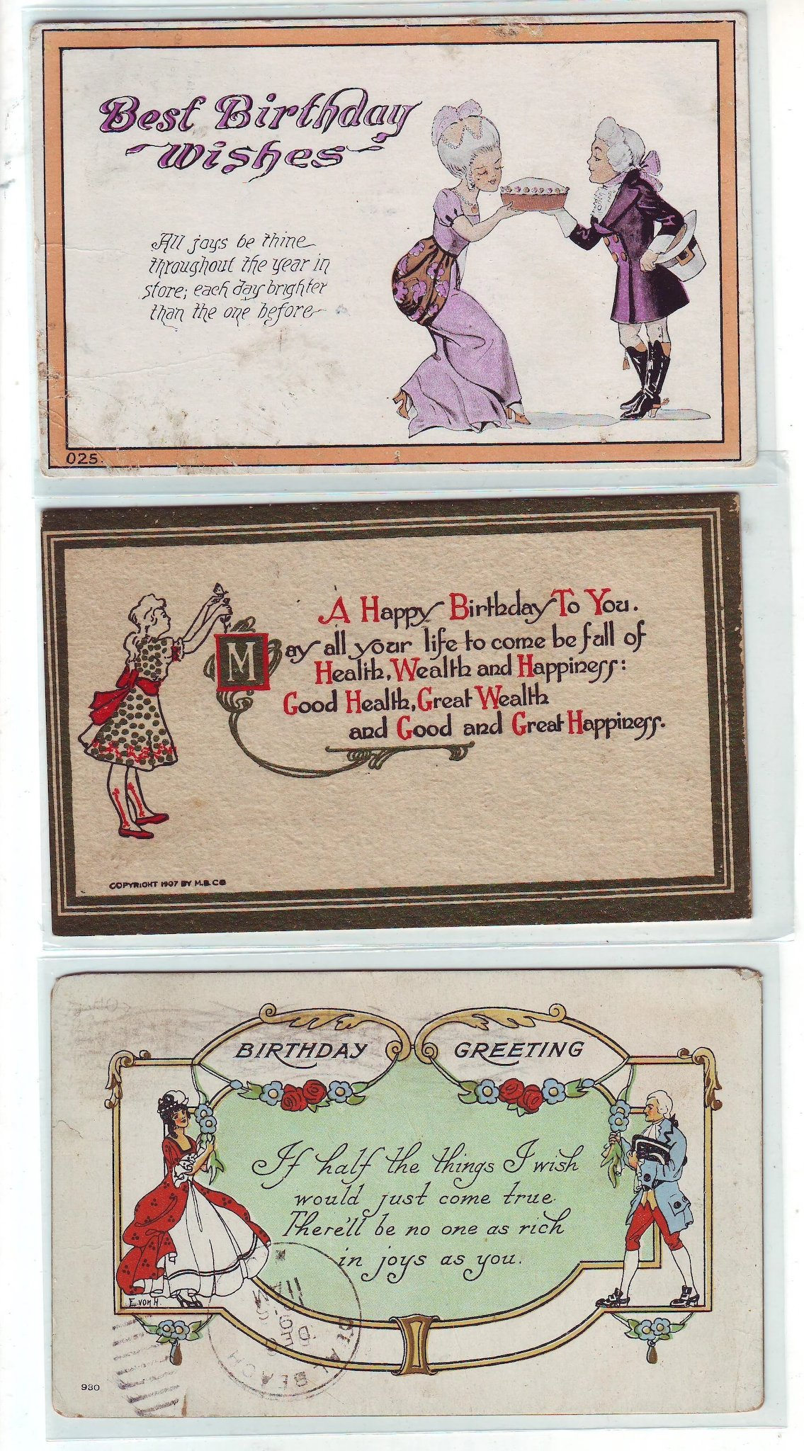 Twelve Birthday And Greeting Postcards From The Early 1900s