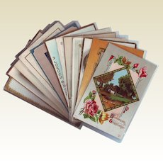 Twelve Birthday and Greeting Postcards from the Early 1900's - Beautiful Country Scenes