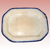 Large Staffordshire Ironstone Feather Edge Ware Platter with Cobalt Blue Trim - Late 1700's