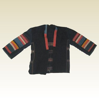 Authentic Akha Hill Tribe Jacket - Natural Fabric with Embroidery and Applique - Pre 1970