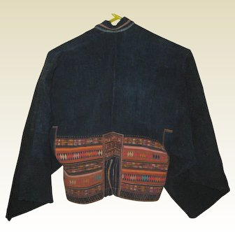 Short Akha Hill Tribe Jacket - Natural Fabric with Embroidery and Applique - Pre 1970