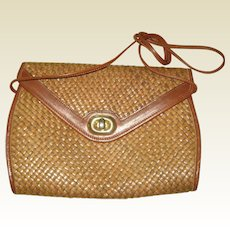 Nordstrom Summer Woven Straw Purse with Leather Trim - Made in Italy