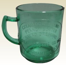Cream Dove Brand Peanut Butter, Salad Dressing Blue Green Glass Measuring Cup