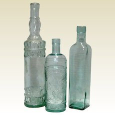 Set Of 3 Vintage Decorative Aqua Glass Wine or Vinegar Bottles