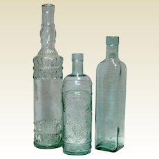 Set Of 3 Vintage Decorative Aqua Glass Wine or Vinegar Bottles