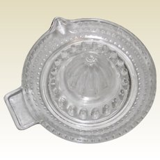 Clear Glass Citrus Reamer with Hobnail Strainer
