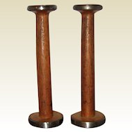 Matched Pair Vintage Wooden Textile Mill Spools or Bobbins  - Candle Holders from England