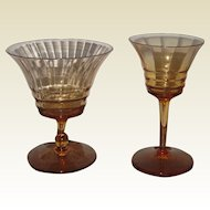 Two Pieces of Amber Cambridge Decagon Depression Glass - Sorbet and Wine Cordial