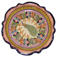 """13 7/8"""" Mexican Talavera Bowl, Plate or Wall Hanging with Peacock"""