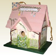 Hand Painted Wooden English Cottage Garden Birdhouse