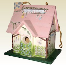 Hand Painted Wooden English Cottage Garden Birdhouse