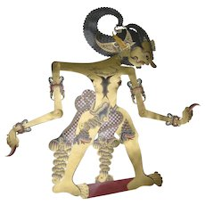 Balinese or Indonesian Wayang Kulit - Leather Hand Painted Shadow Puppet - Bima
