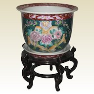 Chinese Jardiniere with Wooden Stand - Green and Burgundy with Peony Design