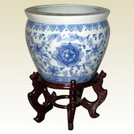 Large Blue on White Chinese Fishbowl Jardiniere on Wooden Stand