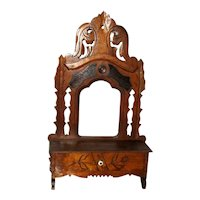 Victorian Eastlake Walnut Shaving Mirror Stand with Drawer
