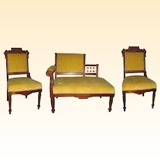 3 Piece Antique Victorian Eastlake Walnut Parlor Set with Lady's Half-Settee, 2 Chairs
