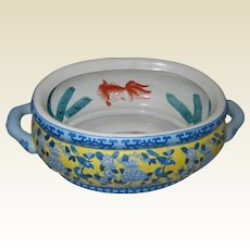 Blue and Yellow Chinese Porcelain Footbath Bowl or Basin with Goldfish