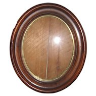 "Victorian Walnut Oval Recessed Picture Frame - 11"" x 13"" circa 1870"