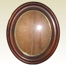 """Victorian Walnut Oval Recessed Picture Frame - 11"""" x 13"""" circa 1870"""