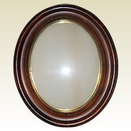 "Antique Victorian Walnut Oval Recessed Picture Frame - 11"" x 13"" circa 1870"