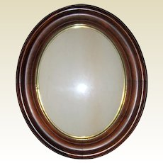 """Antique Victorian Walnut Oval Recessed Picture Frame - 11"""" x 13"""" circa 1870"""