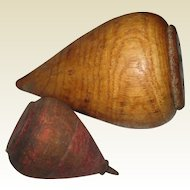 Two Old Wooden Tops - Children's Toys