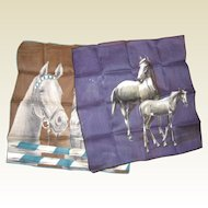 Two 1950's Cotton Handkerchiefs with Horses