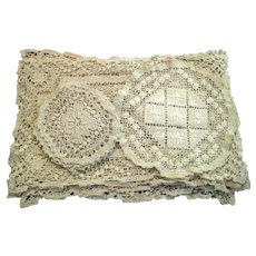 14 Piece Set of Placemats, Coasters and Doily in Hand Made Ecru Cotton Needle Lace