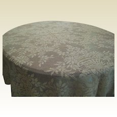"""1930's Ecru Quaker Lace Tablecloth with Baskets of Roses 64"""" x 68"""""""