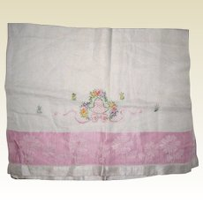 Hand Embroidered Tea Towel with Pink Damask Border
