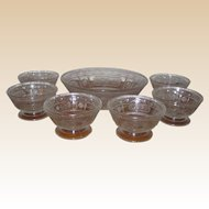 EAPG Bryce Crystal Willow Oak Fruit or Dessert Set - Master Bowl and Six Individual Footed Cups - Circa 1880