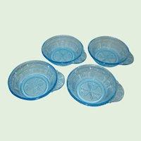 Set of Four EAPG Bryce Blue Willow Oak Fruit or Dessert Bowls
